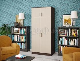 Шкаф 2-х створчатый со штангой и полками