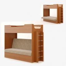 Кровать двухъярусная Кр-11 с диваном 0,8х1,9