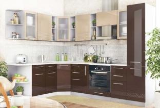 Угловая кухня «Капля глянец» Капучино/шоколад
