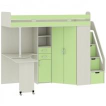 """Кровать-чердак со столом """"Карамель 77-03"""" Зеленый"""
