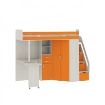 """Кровать-чердак со столом """"Карамель 77-03"""" Оранжевый"""