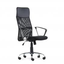Кресло Barneo K-134H для персонала черная ткань черная сетка, газлифт 3кл