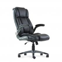 Кресло Barneo K-44 для руководителя черная кожа, газлифт 3кл, PU-X18