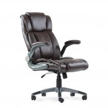 Кресло Barneo K-44 для руководителя коричневая кожа, газлифт 3кл, PU-R57