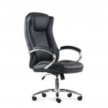 Кресло Barneo K-45 для руководителя черная кожа, газлифт 3кл, PU-X18