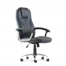 Кресло Barneo K-8 для руководителя черная кожа, газлифт 3кл, PU-X18