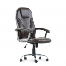 Кресло Barneo K-8 для руководителя коричневая кожа, газлифт 3кл, PU-R57