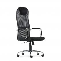 Кресло Barneo K-118 для персонала черная ткань, черная сетка