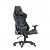 Кресло Barneo K-52 черная кожа черные вставки, газлифт 3кл, реклайнер, игровое
