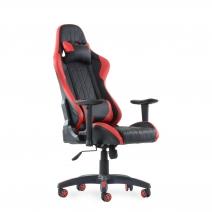 Кресло Barneo K-52 черная кожа красные вставки, газлифт 3кл, реклайнер, игровое