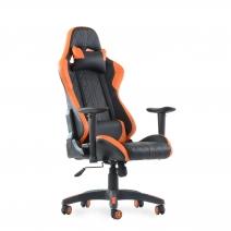 Кресло Barneo K-52 черная кожа оранжевые вставки, газлифт 3кл, реклайнер, игровое