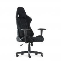 Кресло Barneo K-51 черная ткань черные вставки, газлифт 3кл, реклайнер, игровое