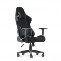 Кресло Barneo K-51 черная ткань серые вставки, газлифт 3кл, реклайнер, игровое