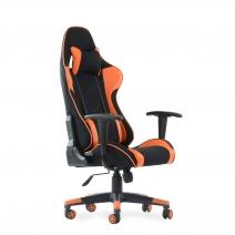 Кресло Barneo K-50 черная сетка оранжевые вставки, газлифт 3кл, реклайнер, игровое