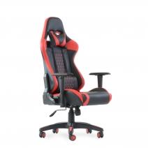 Кресло Barneo K-53 черная сетка красные вставки, газлифт 3кл, реклайнер, игровое