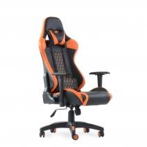 Кресло Barneo K-53 черная сетка оранжевые вставки, газлифт 3кл, реклайнер, игровое