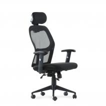 Кресло Barneo K-128 для персонала черная ткань черная сетка, газлифт 3кл