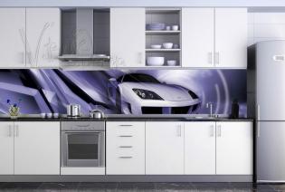 """Кухонный фартук """"Белый автомобиль"""""""