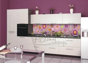 """Кухонный фартук """"Птицы,Графика на розовом."""""""