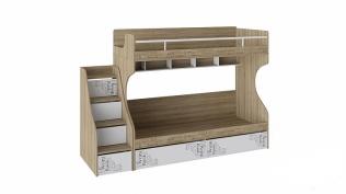 Кровать 2-х ярусная с лестницей приставной с ящиками «Оксфорд» СМ-139.11.012