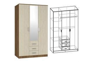 """Шкаф 3-х створчатый комбинированный с зеркалом """"Светлана"""""""