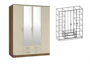 """Шкаф 4-х створчатый комбинированный с зеркалами """"Светлана"""""""