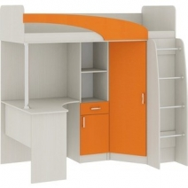 """Кровать-чердак со столом """"Карамель 77-01"""" Оранжевый"""